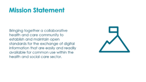 Bringing together a collaborative health and care community to establish and maintain open standards for the exchange of digital information that are easily and readily available for common use within the health and social care sector.