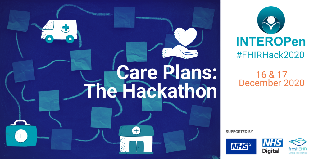 Event banner for Care Plans Hackathon on 16 and 17 December 2020